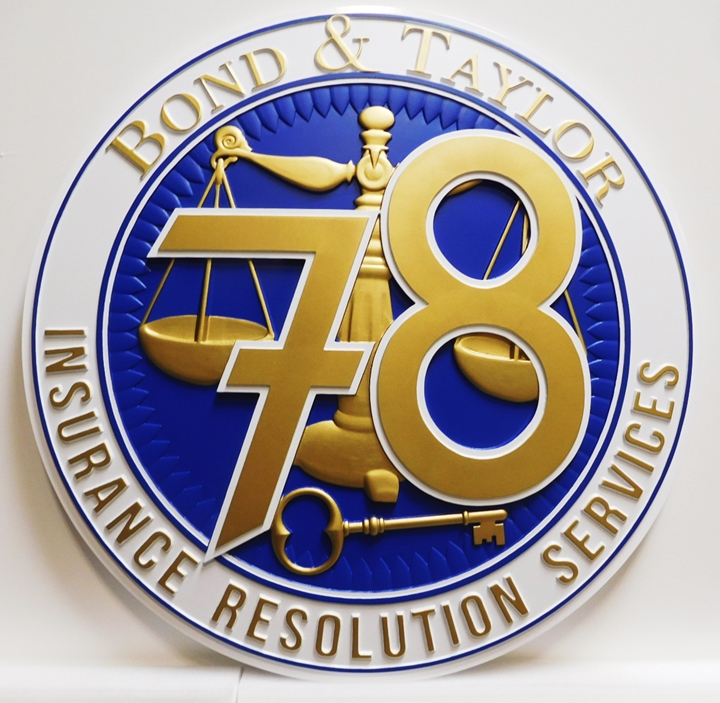 VP-1130 - Carved Plaque of the Seal/Logo of Bond & Taylor Insurance Services, 3-D Artist Painted