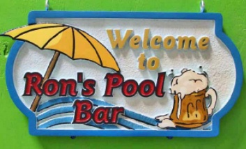G16820 -  Carved HDU Sign  for Ron's Pool Bar with Umbrella, Waves and Beer Mug as Artwork