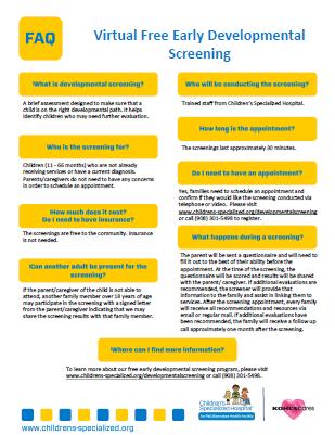 Early Childhood Developmental Screening FAQs