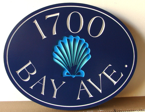 L21005C - Seaside Residence Address Number Plaque with Engraved Seashell