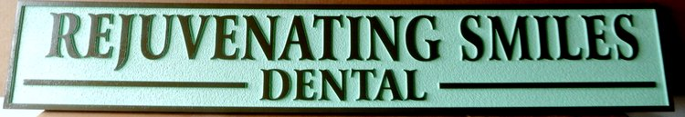 "BA11657 - Carved and Sandblasted Wood Grain Sign for the Dental Office  ""Rejuvenating Smiles"""