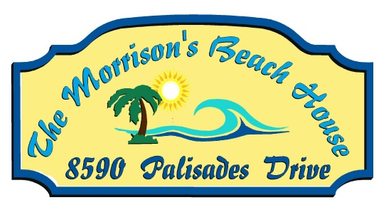 L21170 -Name and Address Sign for Beach House with Sun, Palm Tree  and Stylized Wave