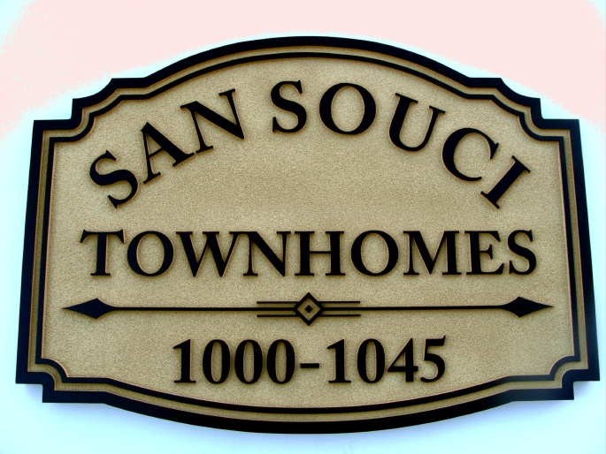 K20100 - Carved HDU Directional Address Signs for Sans Souci Townhomes