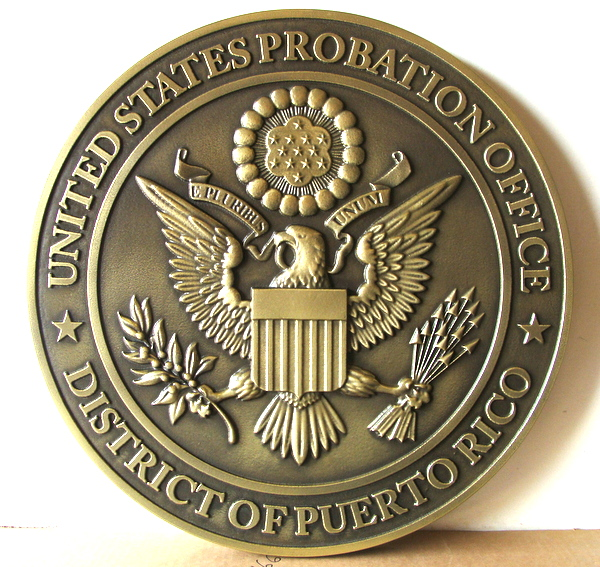 FP-1520 - Carved Plaque of the Seal of the US Probation Office, Northern  District of Puerto Rico, Brass  Plated