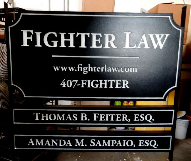 A10601 - Large Entrance Sign for Fighter Law Firm, with two Rider Signs for Attorney Names