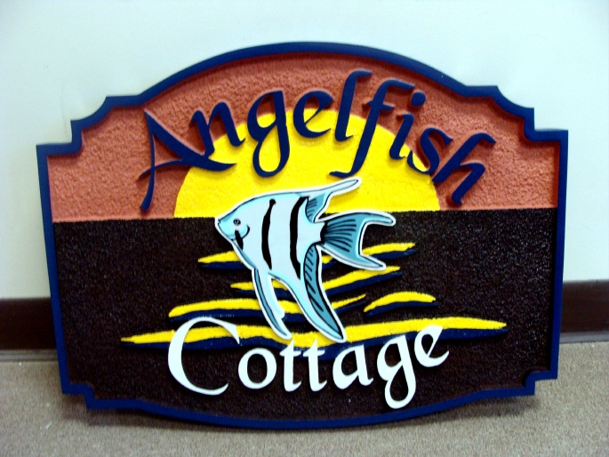 L21014 - Carved Wood Seashore Home Sign with Angelfish
