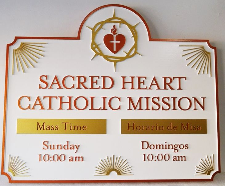 "D13108 - Carved HDU Sign for the ""Sacred Heart Catholic Mission"". 2.5-D Artist-Painted"
