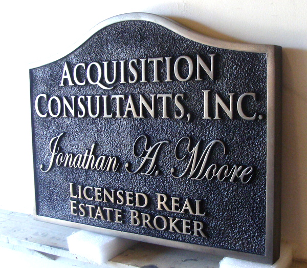 M7466 - Metallic Silver Paint Text on Sandblasted Background, HDU Sign for Real Estate Broker