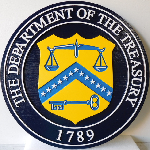 U30178 - Department of the Treasury Seal Carved 3-D Plaque