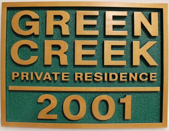 "I18815 - Carved  High-Density-Urethane Residence Address and Name Sign, ""Green Creek"""