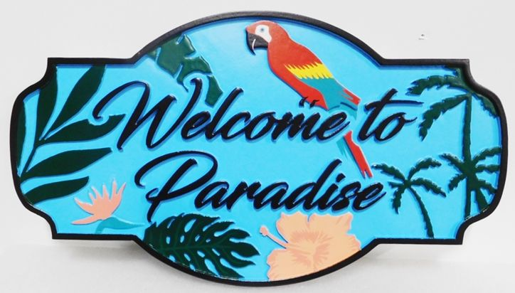 """L21920 - Carved HDU Coastal Residence Name Sign """"Welcome to Paradise"""", with Parrot, Palm Trees and Hibiscus as Artwork"""