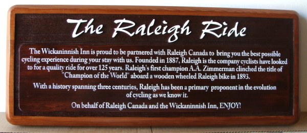 G16158 - Stained Cedar Sign for Cycling, Raleigh Bike