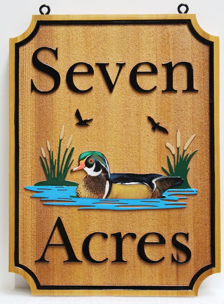M3965 - Carved 2.5D Vacation Home Sign  made from Western  Red Cedar wood., with  a Mallard Duck  as Artwork (Gallery 21)