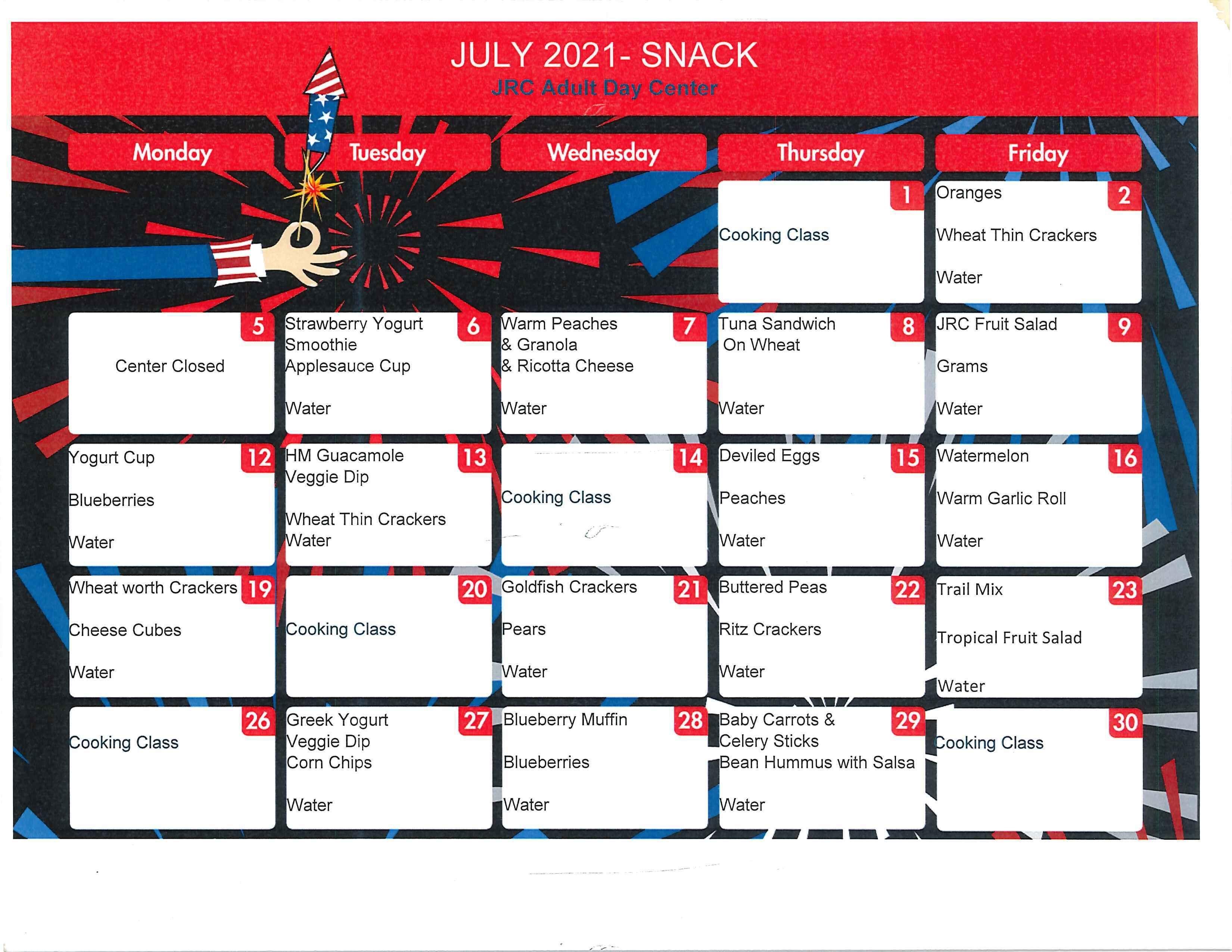 July Snack Menu