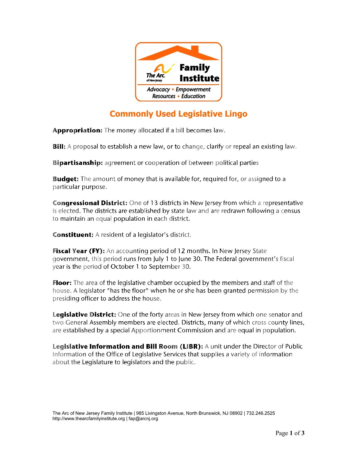 Commonly Used Legislative Lingo