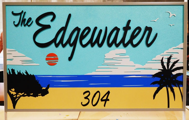 """L21108 - Carved  Beach House Sign """"The Edgewater"""", with Scene of Beach, Sea and Clouds,"""