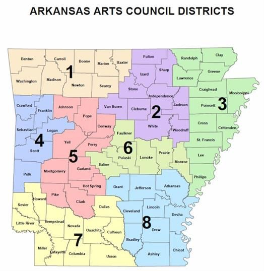 A map of Arkansas detailing the Arkansans Arts Council Districts and the counties they include. There are 8 Districts.