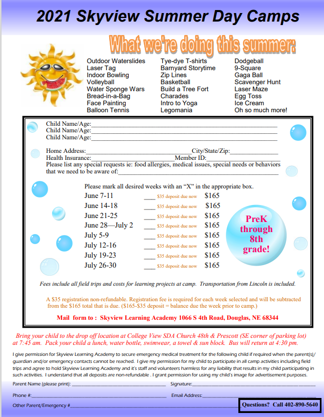 Sign up NOW for Skyview Summer Day Camps!