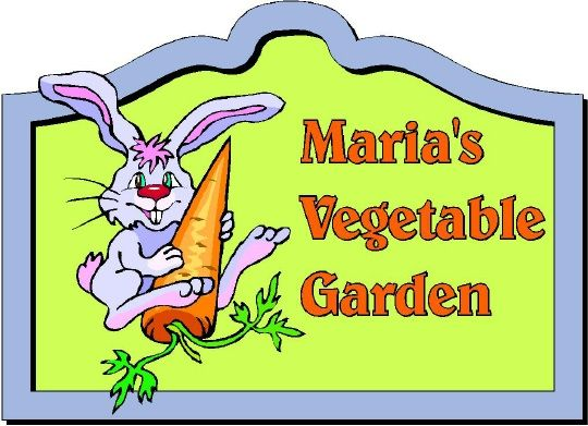 LG946 - Carved Vegetable Garden Sign, with Rabbit Eating a Carrot - $180