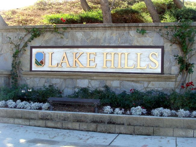 M6446 - Stone and Marble Monument Sign with Lighting and Flower Bed