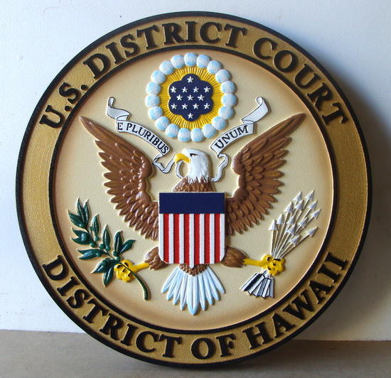 U30142 - Carved 3-D Hand-painted  HDU Wall Plaque of  the Seal of the US District Court, District of Hawaii