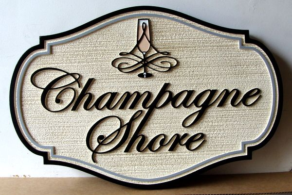 """L21928 - Sandblasted HDU Sign for Seashore Residence """"Champagne Shore"""" with Champagne Glass"""