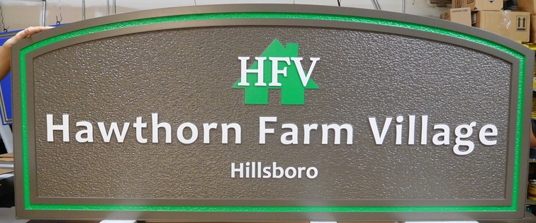 "K20213 - Carved HDU Entrance Sign for  the ""Hawthorn Farm Village,"" with Sandblasted Background Painted in Natural Colors"