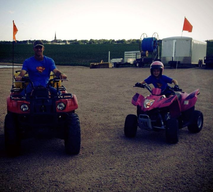 Sammy's Superheroes 4-wheeling! Thank you, Preister's, for sending this awesome picture. Sweet Charli is in remission from Neuroblastoma. We heart Charli's pink 4-wheeler... Stylin'. ;)