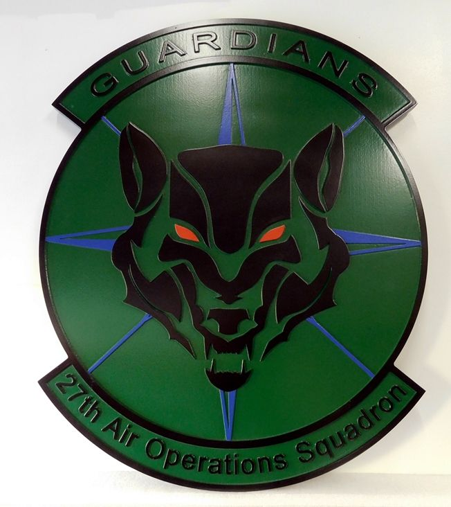 V31629A -  Carved Wall Plaque of the Crest for the USAF 27th Air Operations Squadron