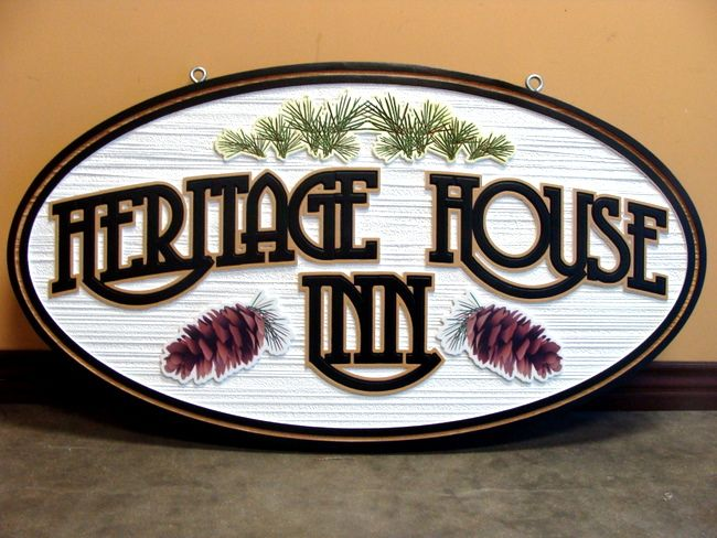 "T29145 - Carved  and Sandblasted Wood Grain HDU Sign for the ""Heritage House Inn"", with Pinecones and Pine Needle Clusters  as Artwork"