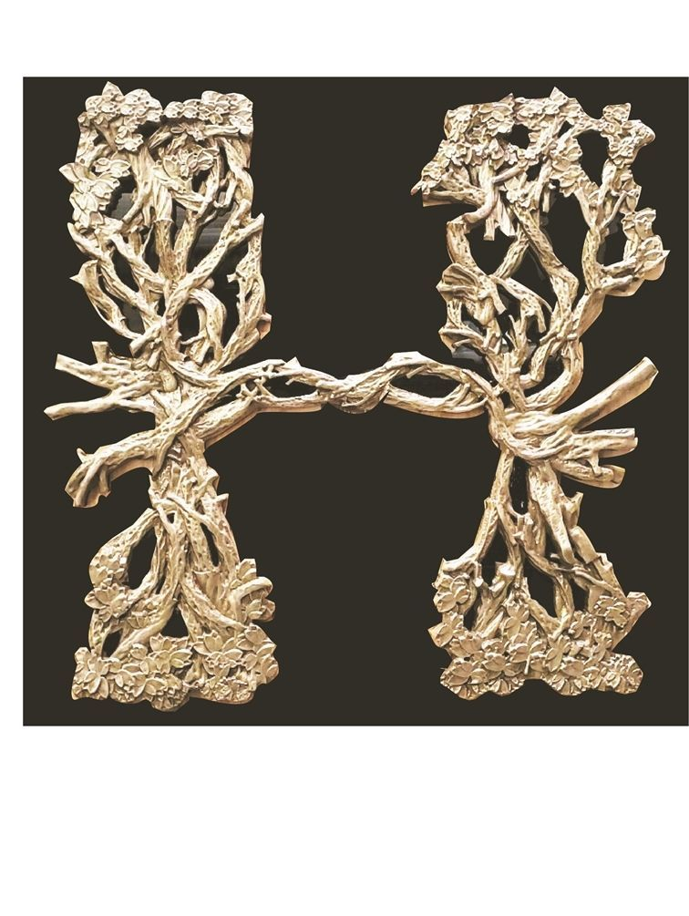 XP-1396 - Carved 3-D HDU Decorative Sign Applique with Tree Trunks, Branches & Leaves
