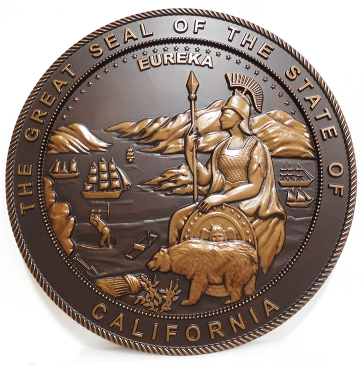 BP-1042- Carved Plaque of the Seal of the State of California, 3-D Metallic Bronze Painted