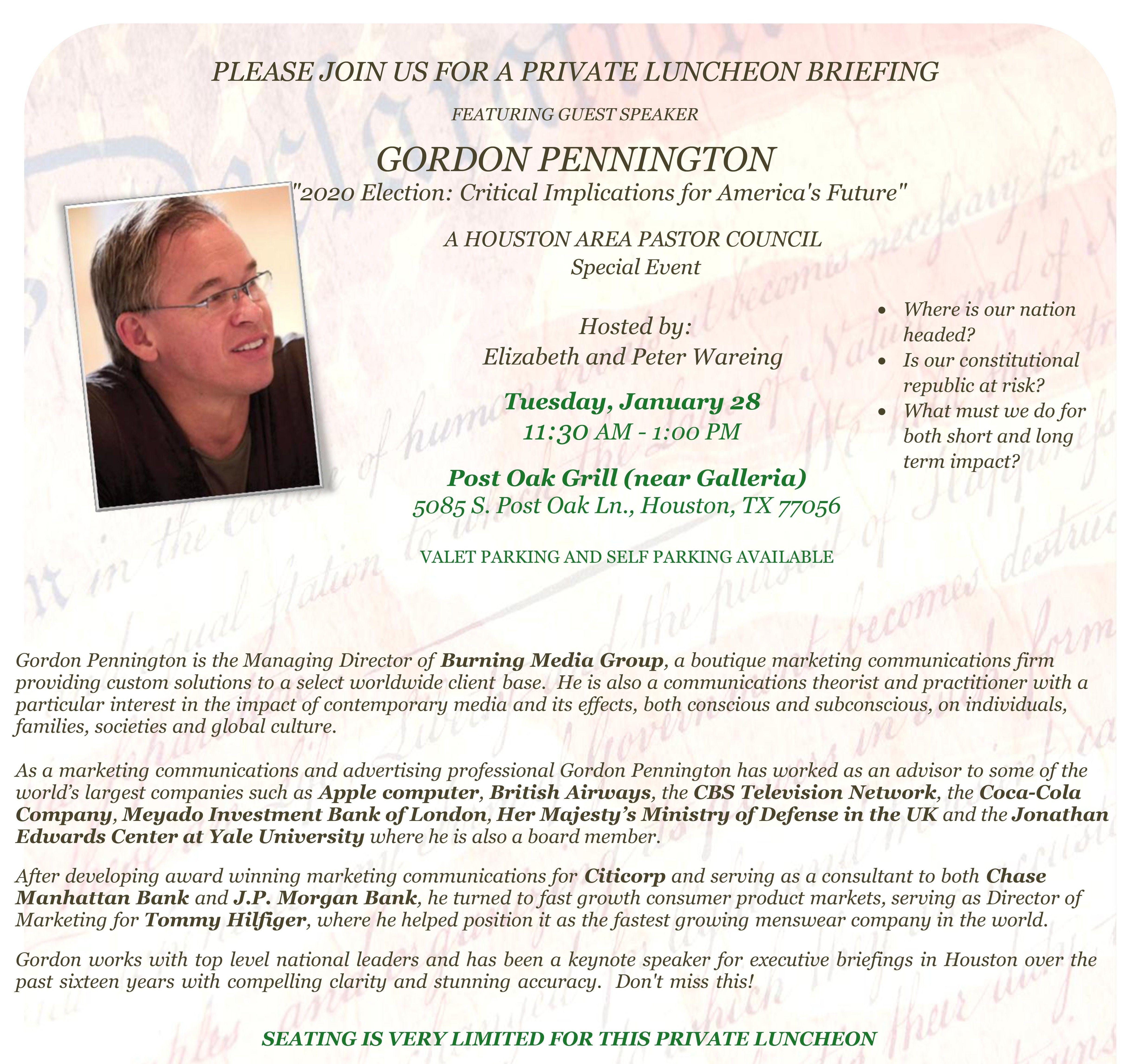 Special Gordon Pennington Briefing