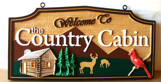 M22208 - Carved HDU Cabin Sign with Log Cabin, Trees, Deer, Cardinal, and Mountains