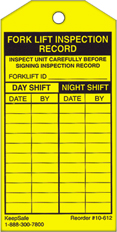 Day/Night Fork Lift Inspection Record Tag