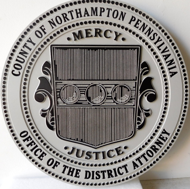 CP-1380 - Carved Plaque of the Seal of Northhampton County, Pennsylvania,  Artist Painted