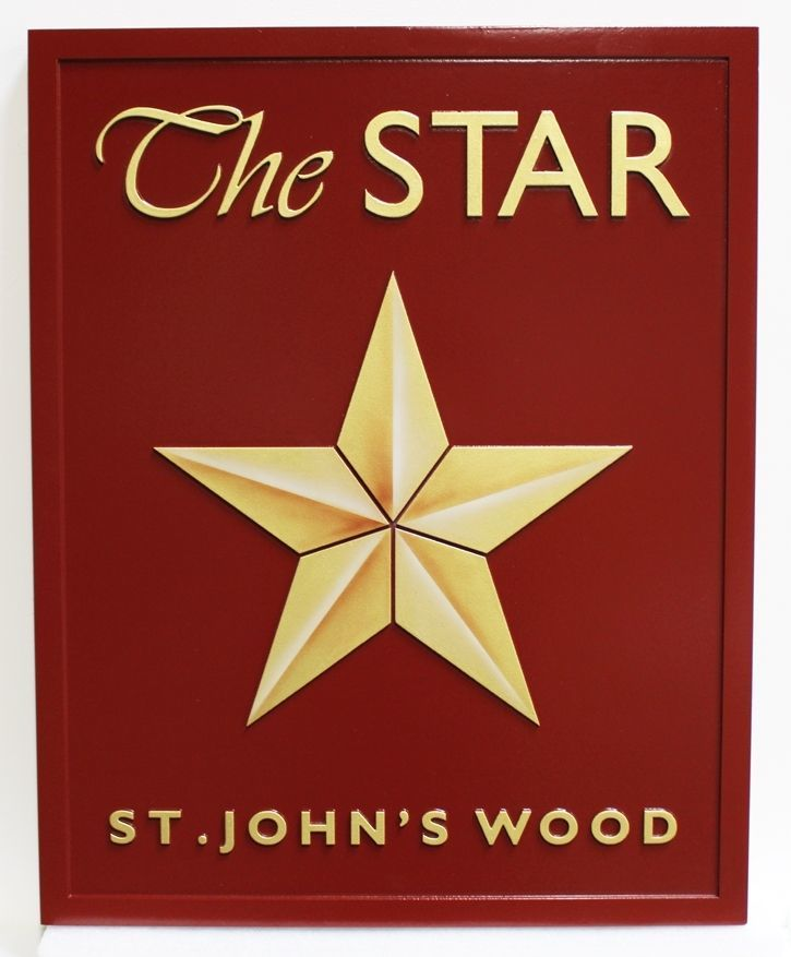 """KA20965 - Carved High-Density-Urethane (HDU) Yard-of-the-Month Sign """"The Star"""" for St. John' Wood Home Owners Association (HOA)."""