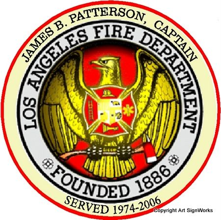 X33872 - Personalized Carved Wood Wall Plaque featuring the Crest/Logo of the Los Angeles Fire Dept