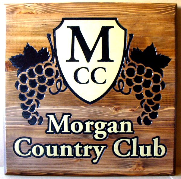 E14150 - Carved  Wooden Sign for Morgan Country Club, with Grape Clusters