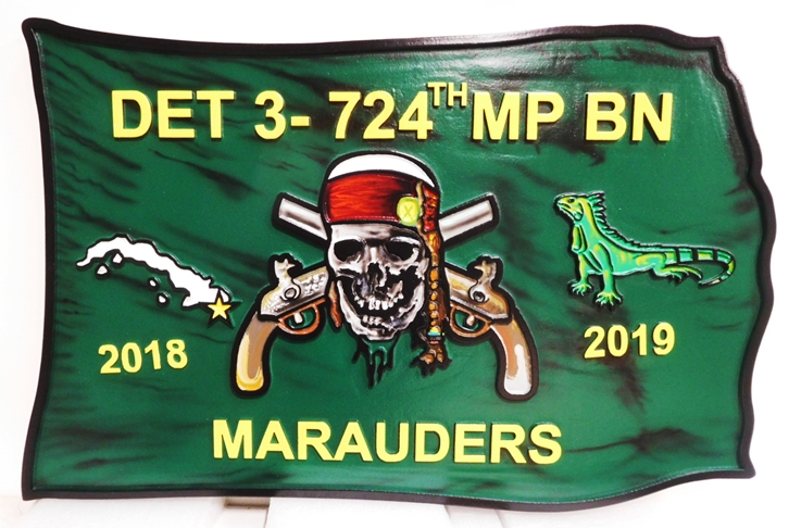 MP-2082 - Carved Paque of the Insignia of a US Army DE3  724th  MP Battalion, 2.5-D Artist-Painted