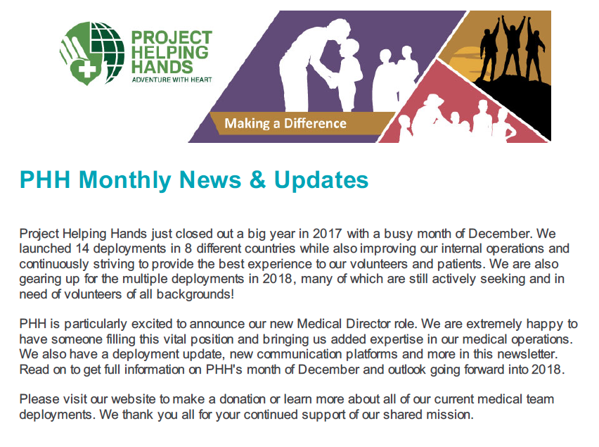 PHH Monthly News & Updates - January 2018