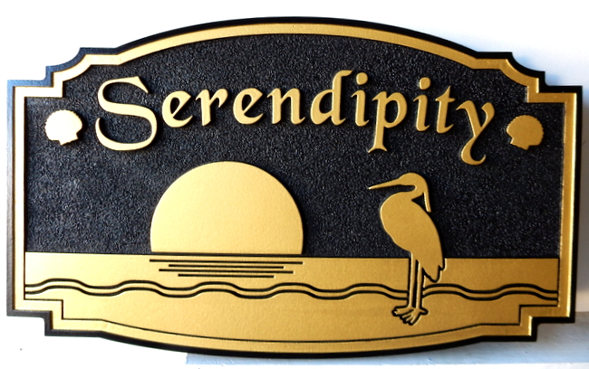 "L21616 - Coastal Residence Sign ""Serendipity"" with Sun, Crane and Waves in Waterm Painted in Metallic Gold and Black"