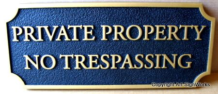 H17135 - Carved Wood Private Property / No Trespassing Sign