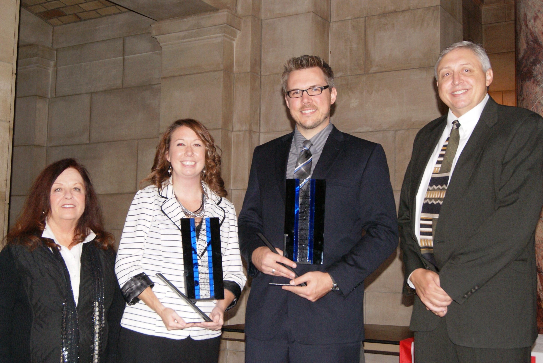 Patsy Koch Johns (NFTA Board President), Becky Stahr (York), Jeremy Stoll (Westside), Doug Zbylut (NFTA Executive Director)