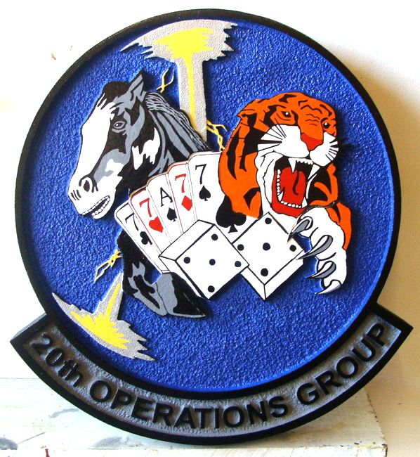 V31529 - 2.5-D Carved HDU Wall Plaque for USAF 20th Operations Group