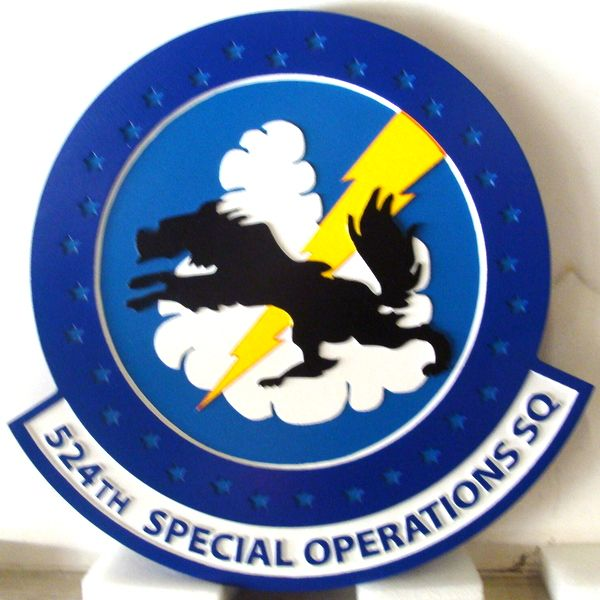 LP-3840 - Carved Round Plaque of the Crest of the 524th Special Operations Squadron, Artist Painted