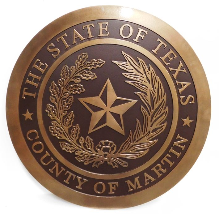 CP-1314- Carved Plaque of the Seal of the County of Martin, Texas, 2.5-D Bronze-plated