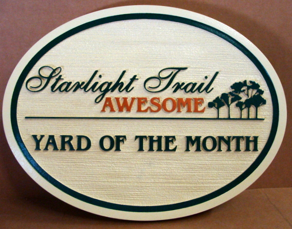 "KA20941 - Sandblasted, HDU Yard-of-the-Month Sign for Starlight Trail HOA, with ""5 Trees"" Logo"