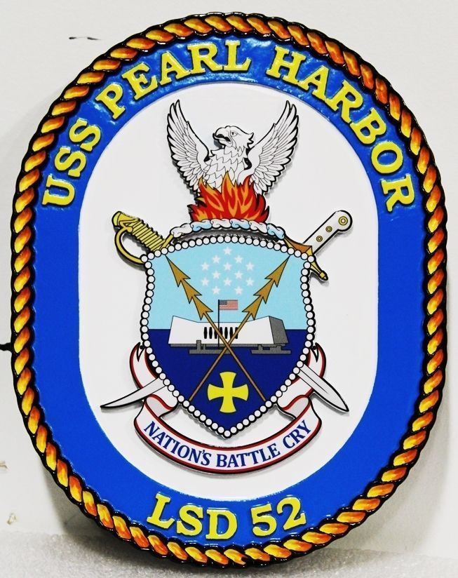 V31235 -  Carved High-Density-Urethane (HDU) wall plaque made of the crest of f the USS Pearl Harbor LSD 52,  US Navy