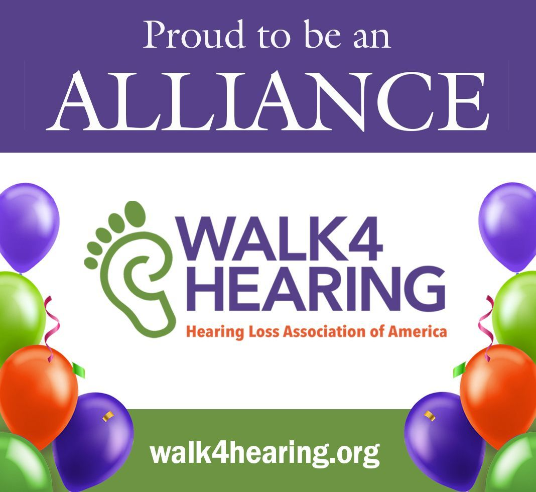 Image of Walk 4 Hearing logo, text reads Hearing Loss Association of America Walk 4 Hearing.